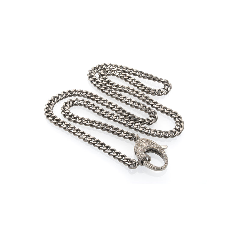 Silver, Black Rhodium Heavy Chain With Diamond Clasp