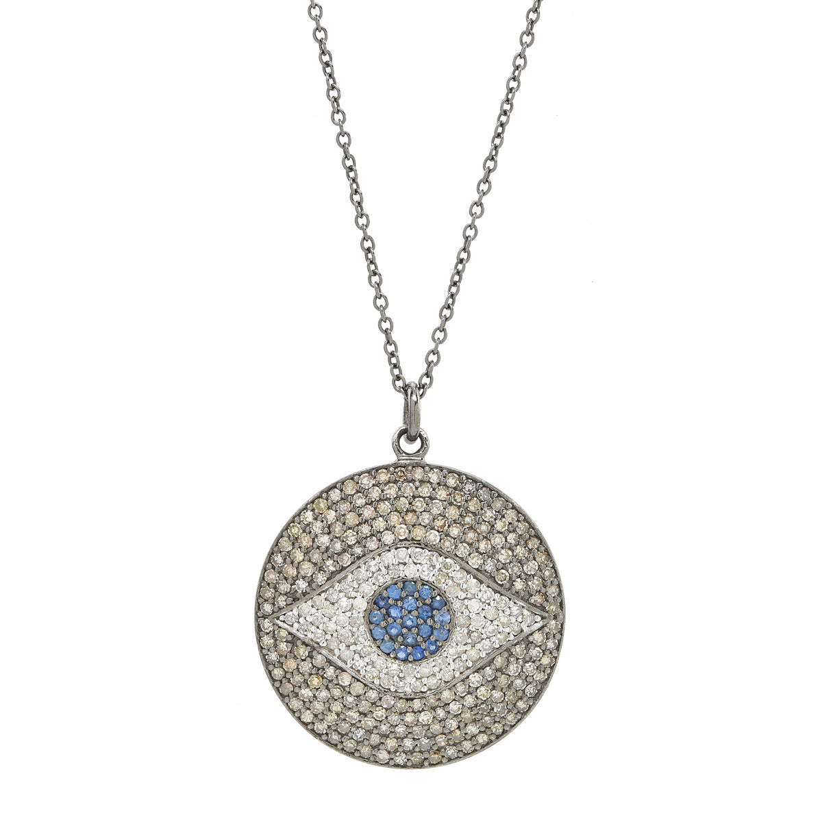 sapphire blue diamond necklace pendant large new dilarasaatci evil products disk eye