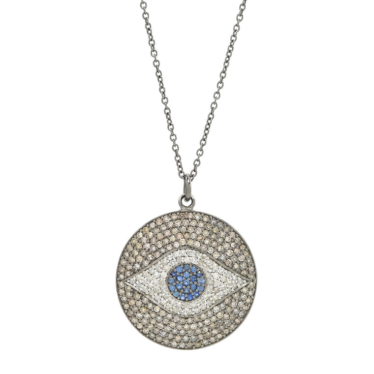 Black Rhodium Blue Sapphire / Diamond Large Evil Eye Disk pendant necklace