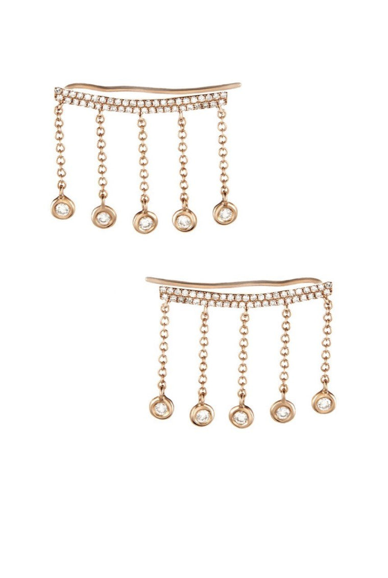 14KT Gold Diamond Ear Crawler Earrings