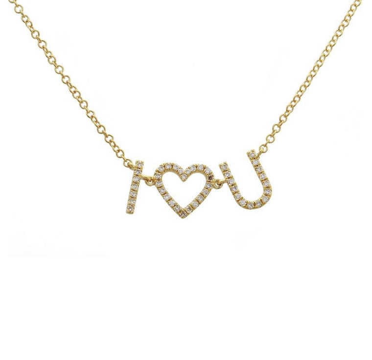 14KT Yellow Gold Diamond I HEART YOU Necklace