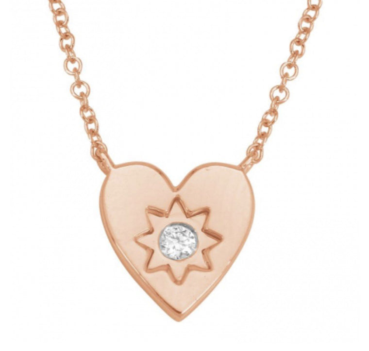 14KT Rose Gold Diamond Small Heart Necklace
