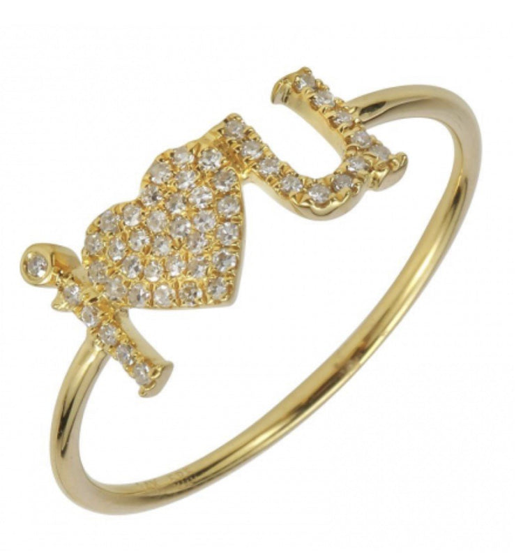 14KT Gold Diamond I HEART YOU Ring, size 6.5 in Stock
