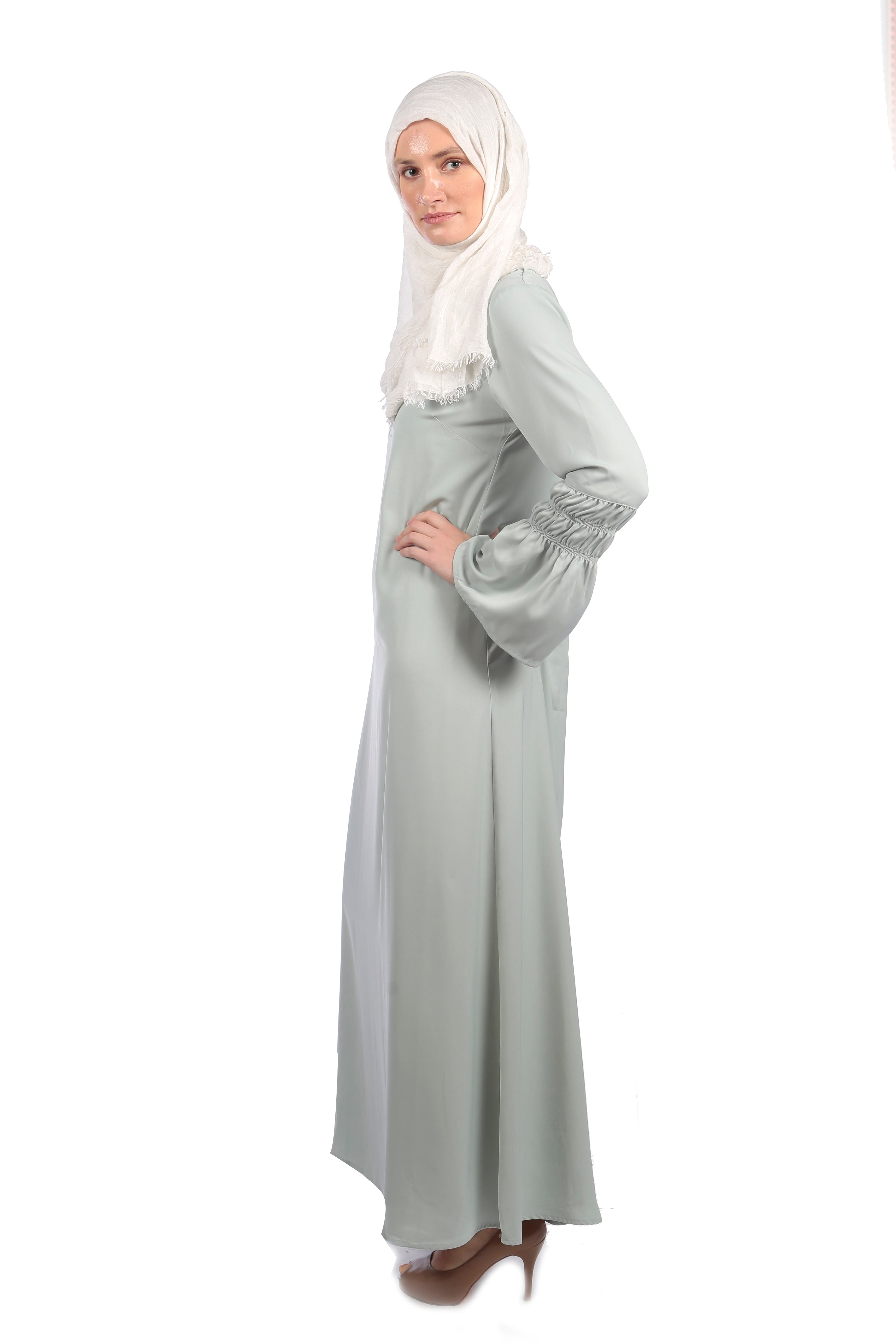 Soft Mint Macaroon Abaya/Dress - Samimi