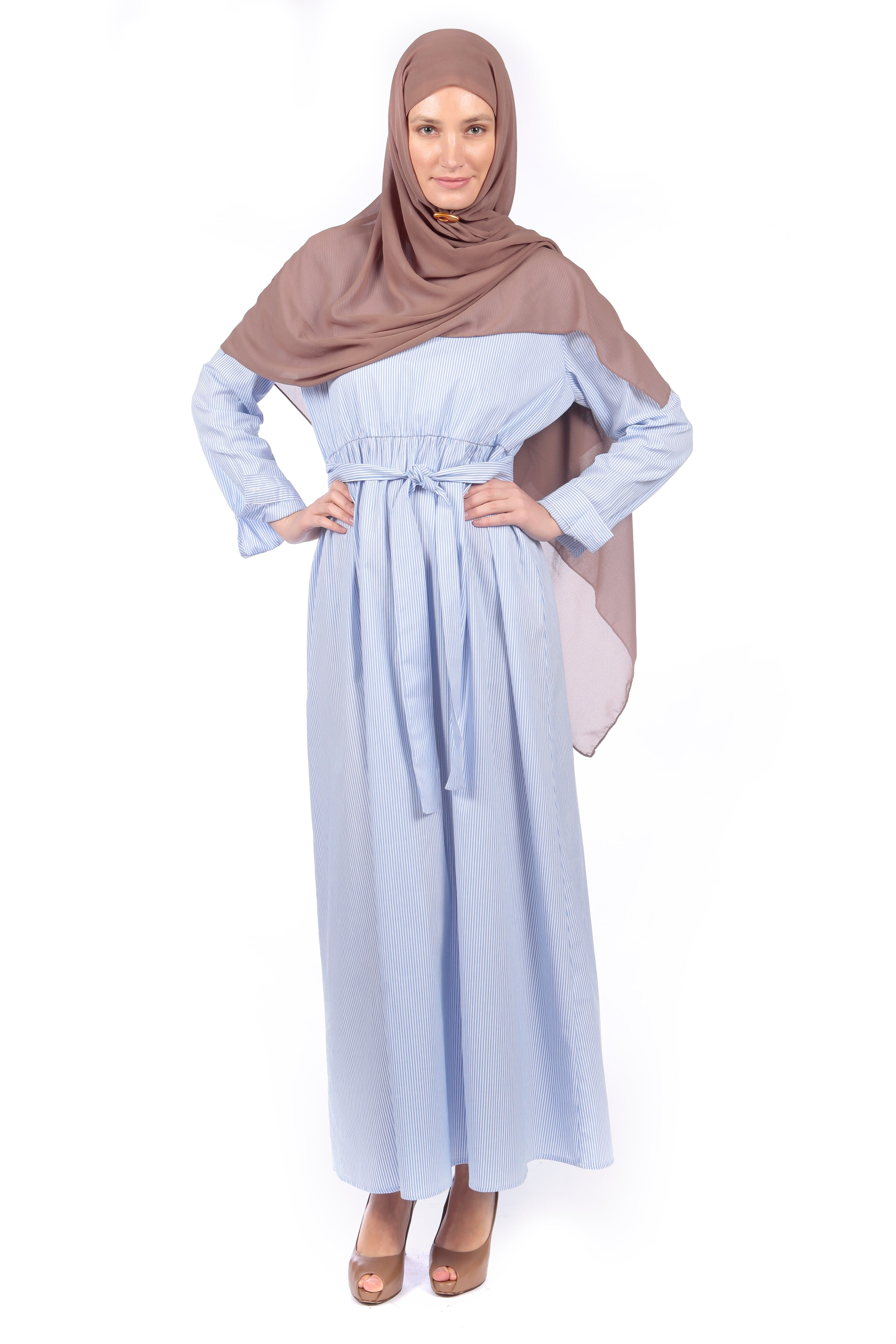 Classic Blue & White Stripe Abaya/Dress - Samimi
