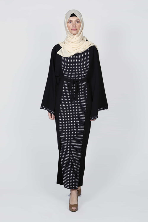 Intimate Polka Dot Black and White Abaya/Dress - Samimi