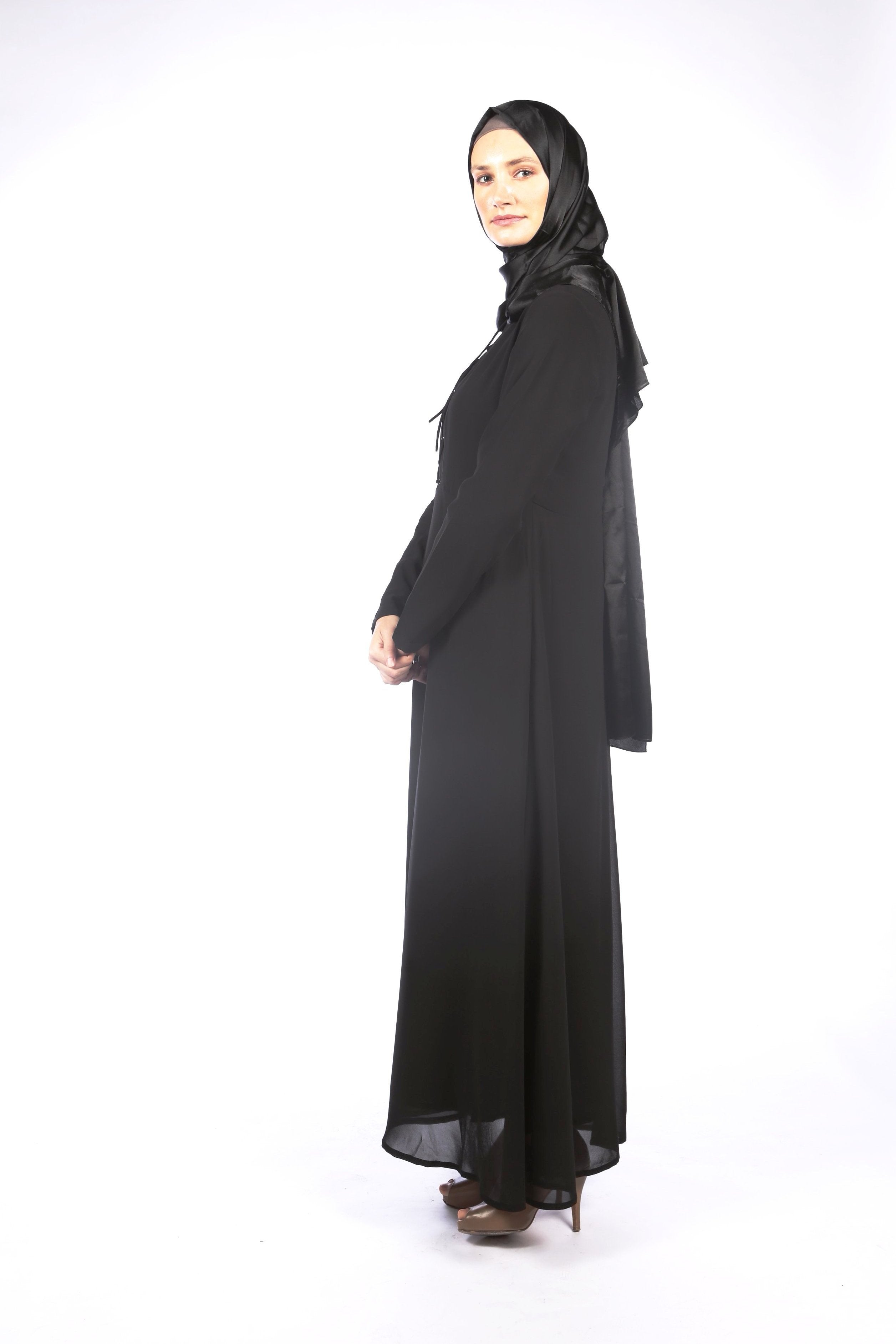 Black Tie Front Dress Abaya - Samimi