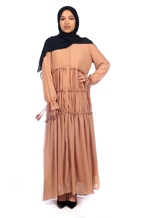 Caramel Ruffle Abaya/Dress - Samimi