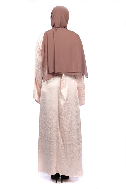 Jacquard Pink Dress/Abaya - Samimi