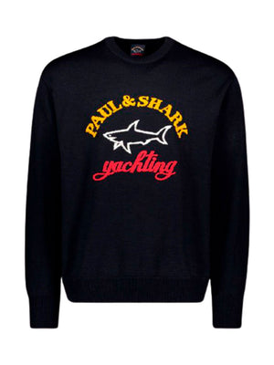 Paul & Shark - Strik - Knitted Color Block Logo - Blå