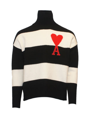 Ami - Rullekrave - Ami Oversized Striped Sweater - Sort - Herre