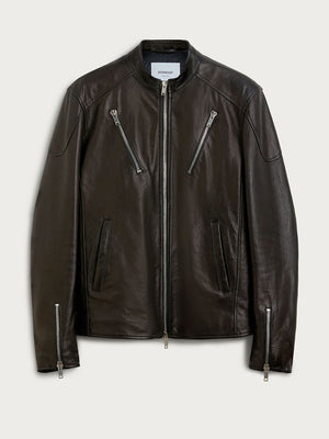 Dondup - Læderjakke - Biker Leather Jacket - Black