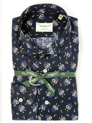 Borriello - Skjorte - Shirt Flower Blue - Blå - Herre