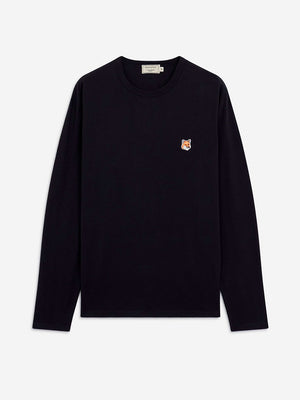 Maison Kitsune Long Sleeve T-Shirt Fox Head - Black