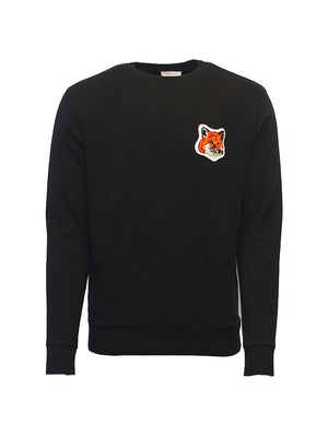Maison Kitsune - Trøje - Velvet Fox Patch Sweater - Sort
