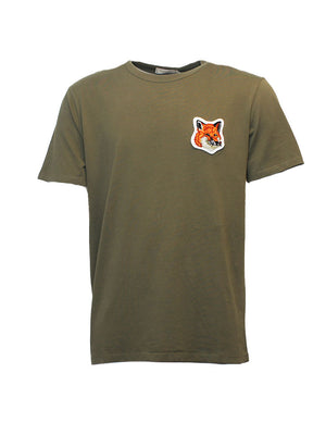 Maison Kitsune - T-shirt - Velvet Fox Head Patch - Grøn