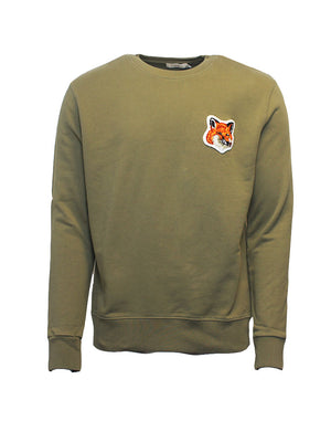 Maison Kitsune - Trøje - Velvet Fox Patch Sweater - Grøn