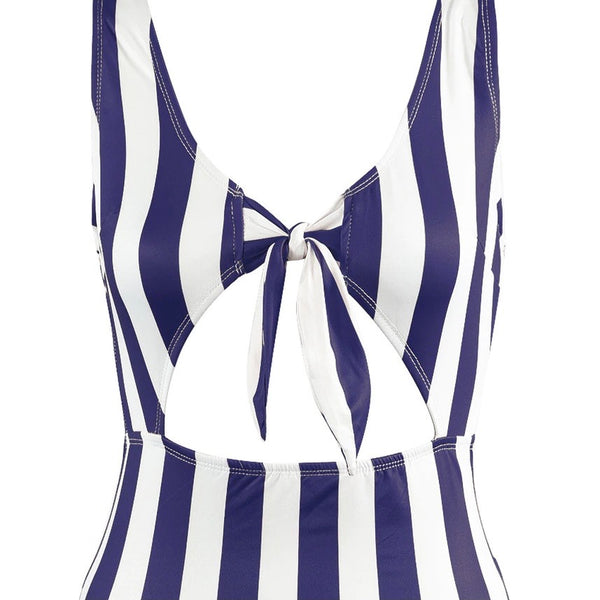 Bold Stripes Tie Up Swimsuit
