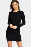 Black Popper Sleeve Bodycon Dress