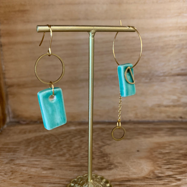 Teal Uneven Earrings