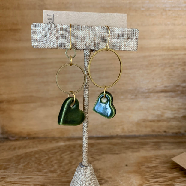 Olive Uneven Hearts Earrings