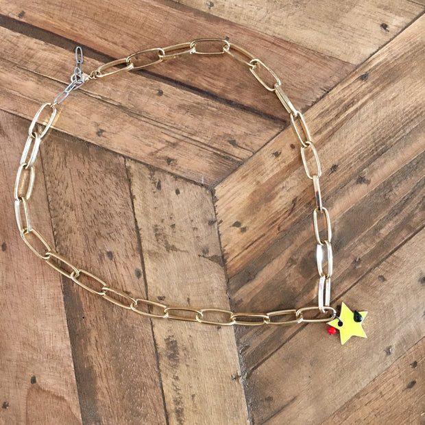 Golden Chain & Yellow Star Necklace