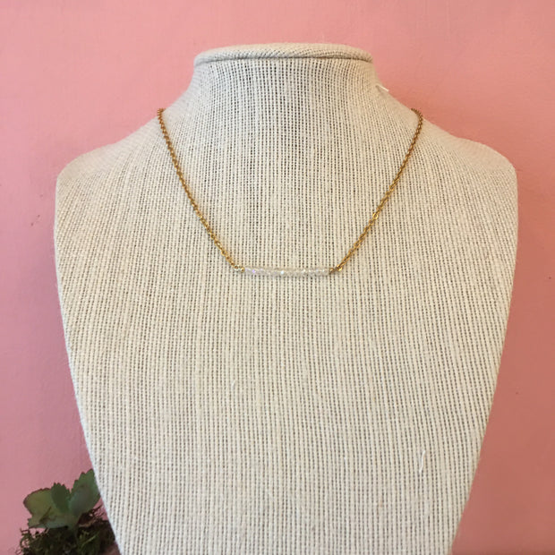 White Bead Detail Necklace
