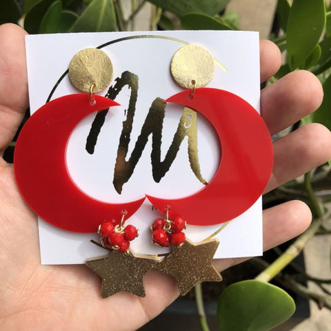 Luna Red Earrings