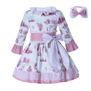 New Autumn Girls Pink Dress Leaf Collar Big Bowknot Lace Dresses Kids Infant Clothing With Headband - chiringuitoweb