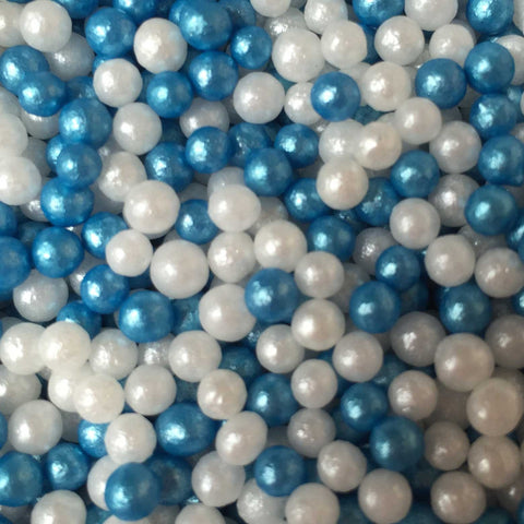 Glimmer Pearls - Blue and White