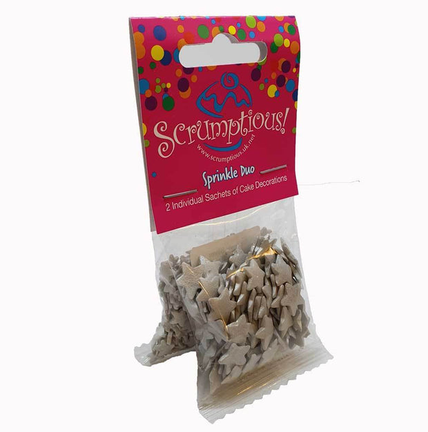Sprinkle Duo - Jumbo Silver Stars and Silver Stars
