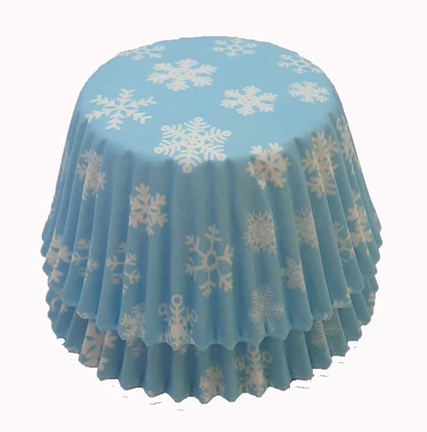 Cupcake Cases - Patterned - Ice Blue Snowflake