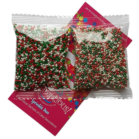 Sprinkle Duo - Red, Green and white 100s and 100s and Glimmer Red, Green and White 100s and 1000s