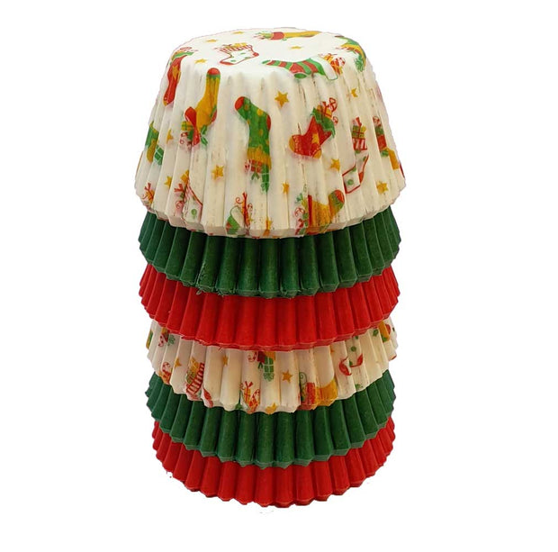 Mini Muffin Cases - Stockings, Red and Green