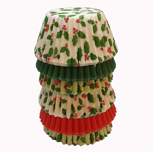 Mini Muffin Cases - Holly, Red and Green