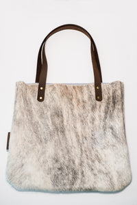 speckled_tote_Leather_hair_on_raleigh_non_profit