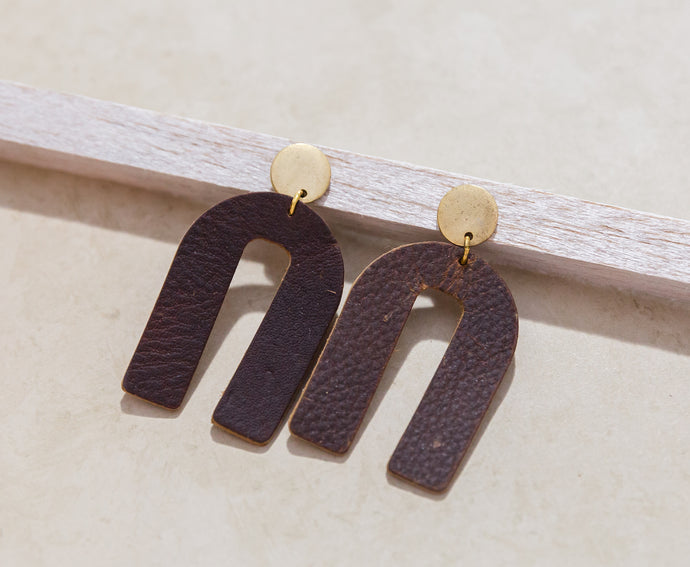 Leather and Gold Arch Earrings