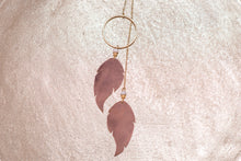 Gold Lariat Necklace with Leather Feathers