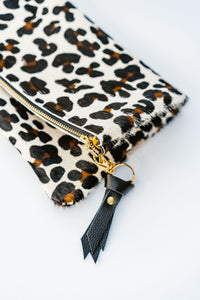 Hair On Leather Foldover Clutch