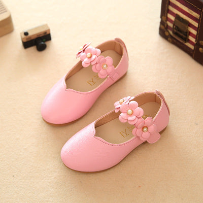Pink Girls Leather Shoes