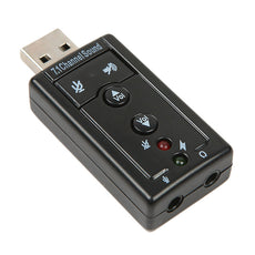 External USB Sound Card 3D Audio Adapter With Headset & Mic