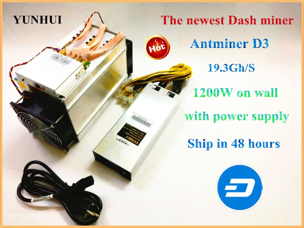YUNHUI DASH MINER ANTMINER D3 19.3GH/s 1200W ( with power supply ) BITMAIN  X11 dash mining machine can miner BTC on nicehash
