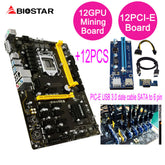 BIOSTAR TB250-BTC PRO 12PCIE+12Pcs Riser Card Can 12 Video Card Mining Motherboard For BTC ETH ZEC ETC XMR Mining TB250 DDR4 32G