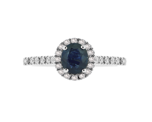 Blue Sapphire Cluster Ring (6mm x 4mm)