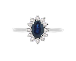 Blue Sapphire Cluster Ring (7mm x 5mm)