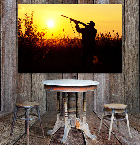 Bird Hunters Sunset Silhouette Framed Wall Art - Hunt Lab Technologies
