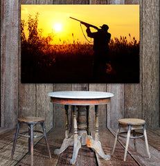 Bird Hunters Sunset Silhouette Framed Wall Art
