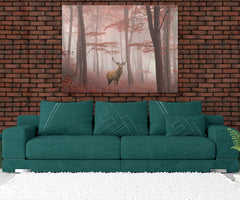 Buck Deer In Fall Forest Framed Canvas Wall Art