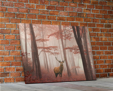 Buck Deer In Fall Forest Framed Canvas Wall Art - Hunt Lab Technologies