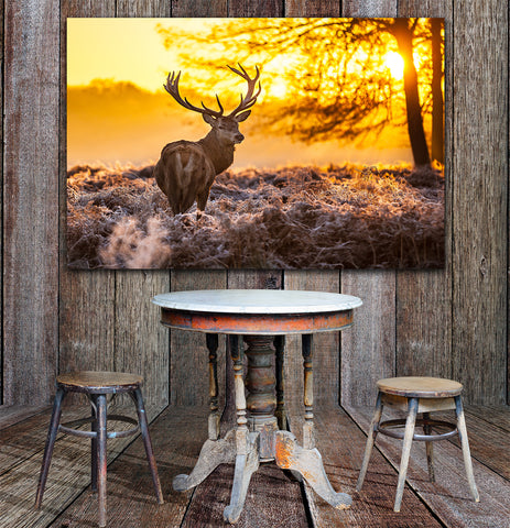 Big Buck Sunset Framed Canvas Wall Art Deer Wall Art - Hunt Lab Technologies
